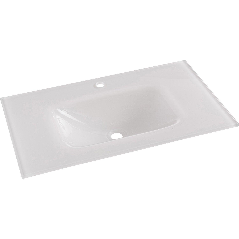 Plan Vasque Simple Opale Verre Trempé 81 Cm