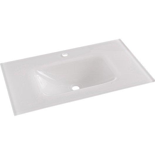 Plan vasque meuble de salle de bains leroy merlin - Double vasque verre trempe ...