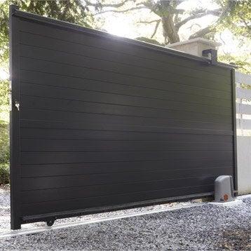 Portail coulissant en aluminium, JENA, l.350 x H.170 cm