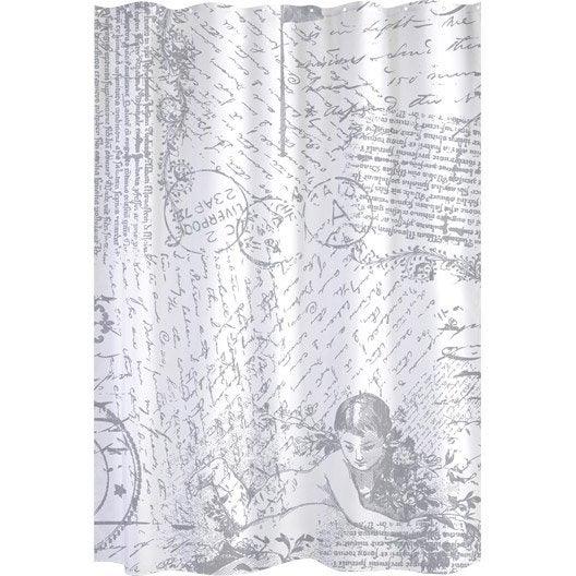 rideau de douche en textile blanc x cm angel sensea leroy merlin. Black Bedroom Furniture Sets. Home Design Ideas