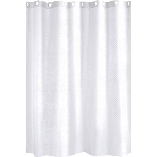 Rideau de douche en textile blanc l.180 x H.200 cm, Glitter SENSEA ...