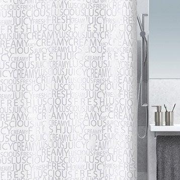 Rideau de douche en textile argent l.180 x H.200 cm, Creamy SENSEA