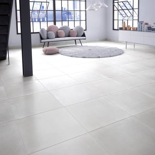 carrelage sol et mur blanc effet b ton proton x l. Black Bedroom Furniture Sets. Home Design Ideas