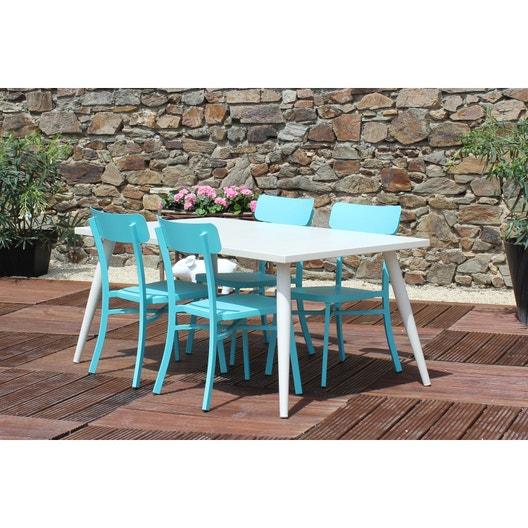 Salon de jardin Mica, JARDIMAGINE, aluminium, blanc/bleu, 4 ...