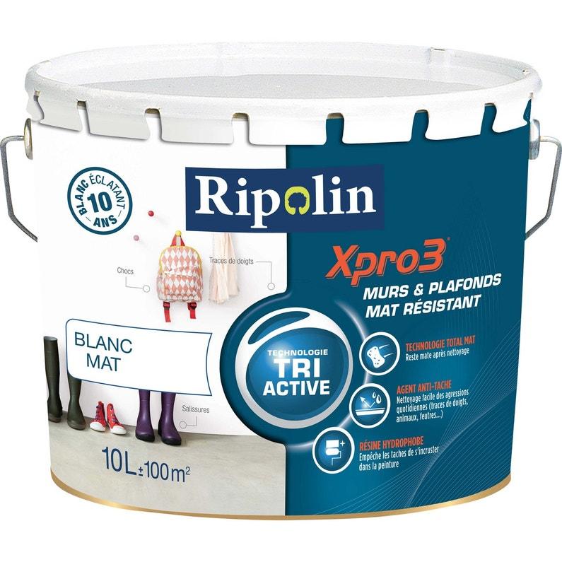 Peinture Blanche Mur Plafond Et Boiserie Xpro3 Resist Ripolin Mat 10 L