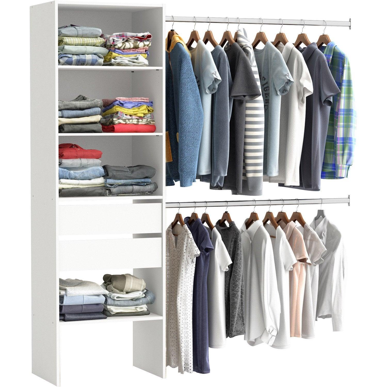 kit dressing blanc smart x x cm leroy. Black Bedroom Furniture Sets. Home Design Ideas
