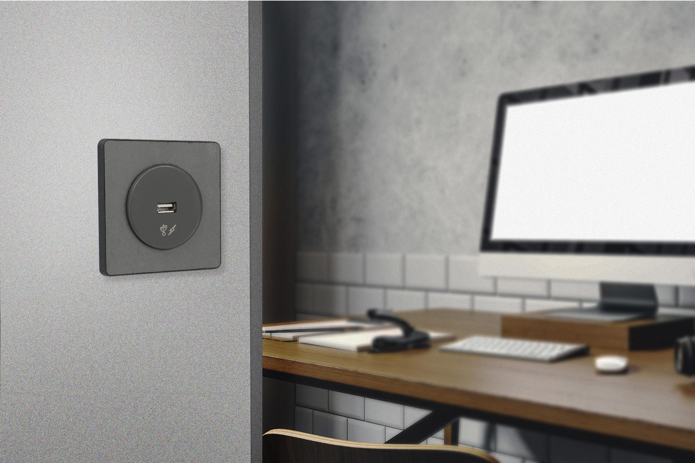 Prise chargeur USB type A Odace anthracite