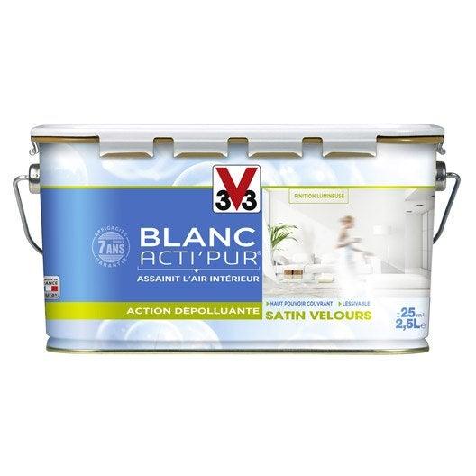 Peinture blanche mur plafond et boiserie acti 39 pur v33 - Peinture v33 plafond ...