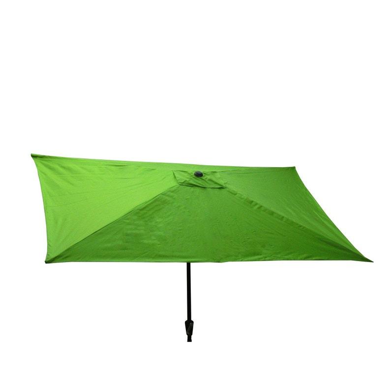 Parasol droit Pratik vert pomme rectangulaire, L.300 x l.200 cm