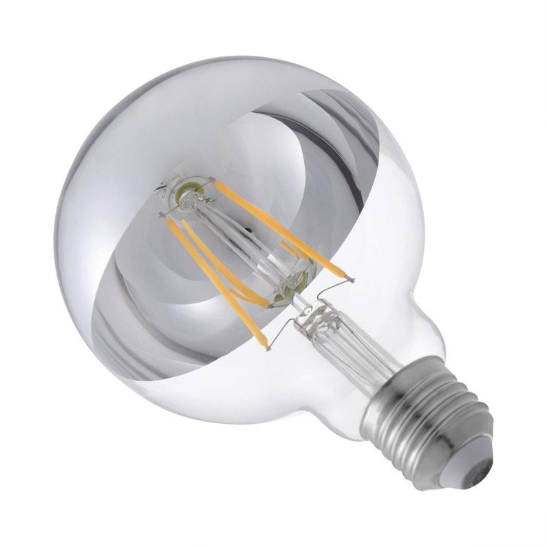 Ampoule Décorative Led Argenté Globe 95 Mm E27 300 Lm 28 W Blanc Chaud Lexma
