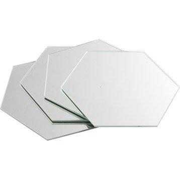 Lot de 4 miroirs non lumineux adhésifs hexagonaux l.15 x L.15 cm