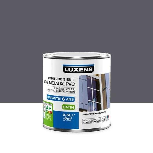 Peinture multimatériau extérieur 3 en 1 LUXENS, gris galet n°1 ...