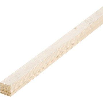 Tasseau sapin petits noeuds brut, 32 x 32 mm, L.2.4 m