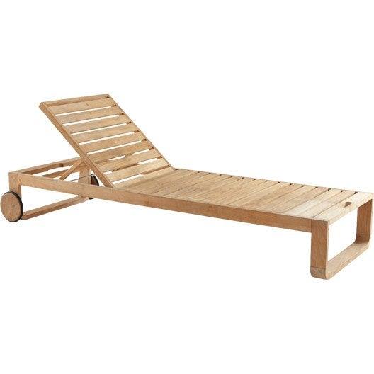 Bain de soleil de jardin en bois resort naturel leroy merlin for Bain de soleil jardin