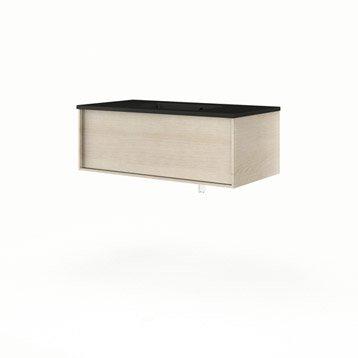 Meuble vasque l.90 x H.32 x P.48 cm, imitation chêne naturel Neo frame