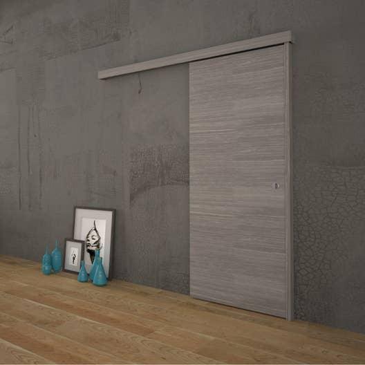 ensemble porte coulissante gris blanchi rail habillage et but e h tre leroy merlin. Black Bedroom Furniture Sets. Home Design Ideas