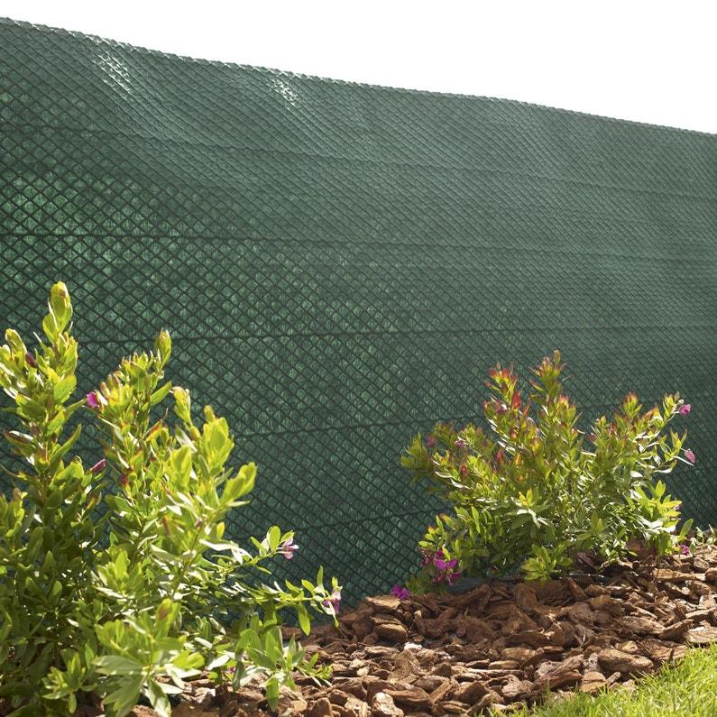 Brise-vue avec attaches vert Tandem, H.1.5 x L.5 m, 100% occultant ...