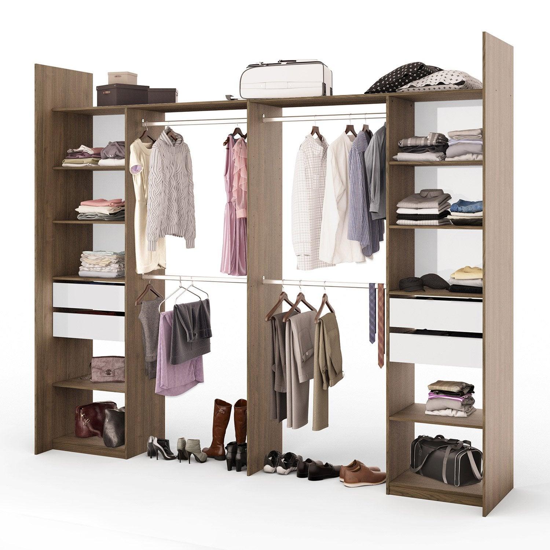kit dressing effet noyer elle et lui x x cm x p de la joue60 c leroy merlin. Black Bedroom Furniture Sets. Home Design Ideas