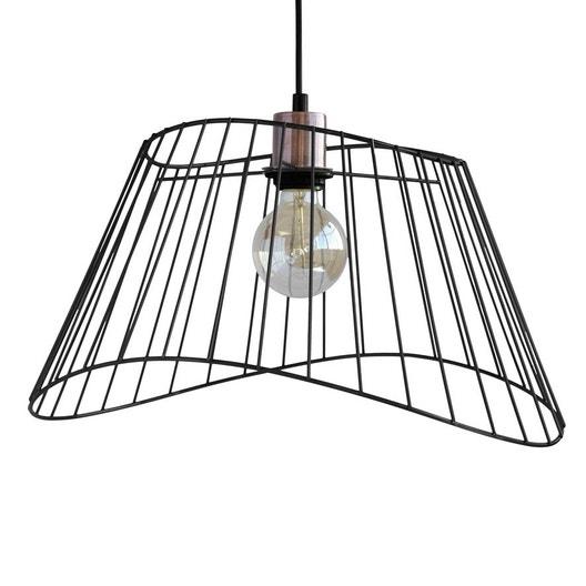suspension m tal noir et cuivre seynave oc ane 1 lumi re s. Black Bedroom Furniture Sets. Home Design Ideas