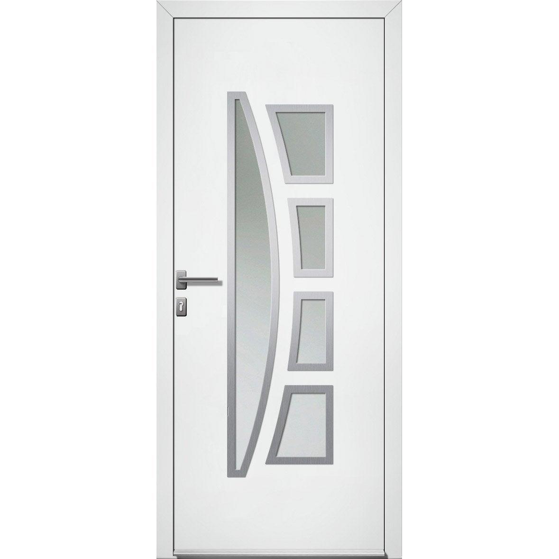 Porte d'entrée PVC Riwa Premium H.215 x l.90 cm vitrée blanc, poussant gauche | Leroy Merlin