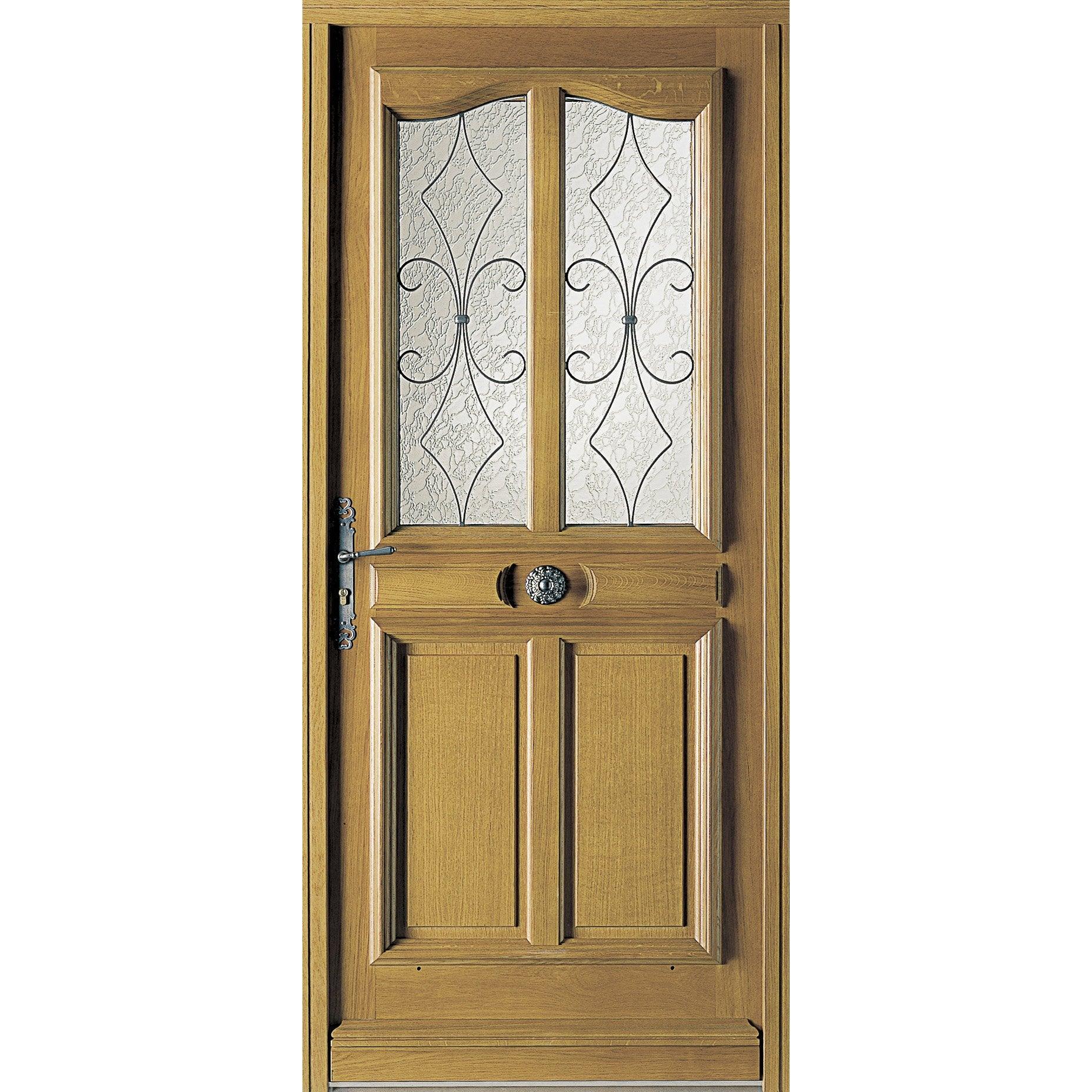 porte d'entrée bois chêne courchevel premium h215 x l90