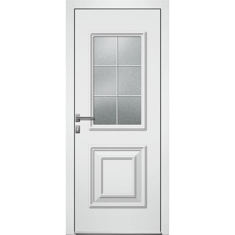 Porte D Entrée Alu Utah 2 Essentiel H 215 X L 90 Cm Vitrée Blanc Pg