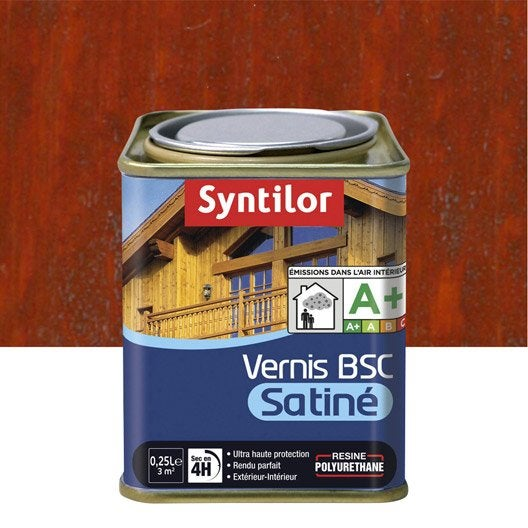 vernis syntilor bsc satine l bois rouge leroy merlin. Black Bedroom Furniture Sets. Home Design Ideas