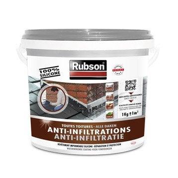 Revêtement liquide Stop fuite toiture plate et inclinée, RUBSON gris 1 kg