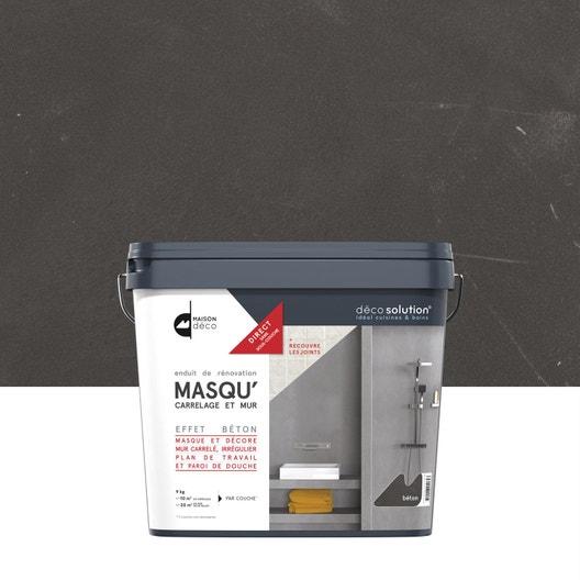 Enduit Masqu\'carrelage et mur MAISON DECO, Gris béton, 9 kg   Leroy ...