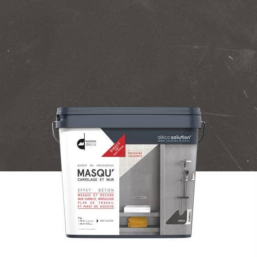 Enduit Masqu\'carrelage et mur MAISON DECO, Gris béton, 9 kg | Leroy ...