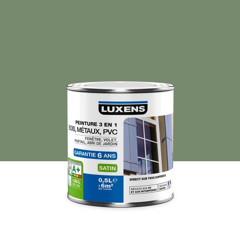 Peinture multimatériau extérieur 3 en 1 LUXENS, vert olivier, 0.5 l ...