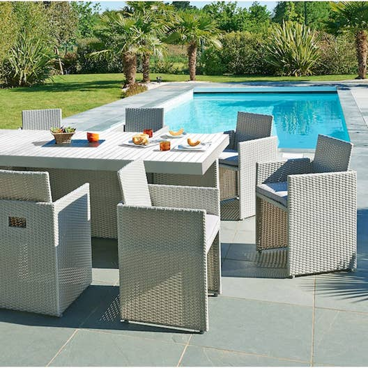 salon de jardin m diterran e r sine tress e gris 8 personnes leroy merlin. Black Bedroom Furniture Sets. Home Design Ideas