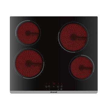 Plaque vitrocéramique 4 foyers, noir, BRANDT BPV6420B