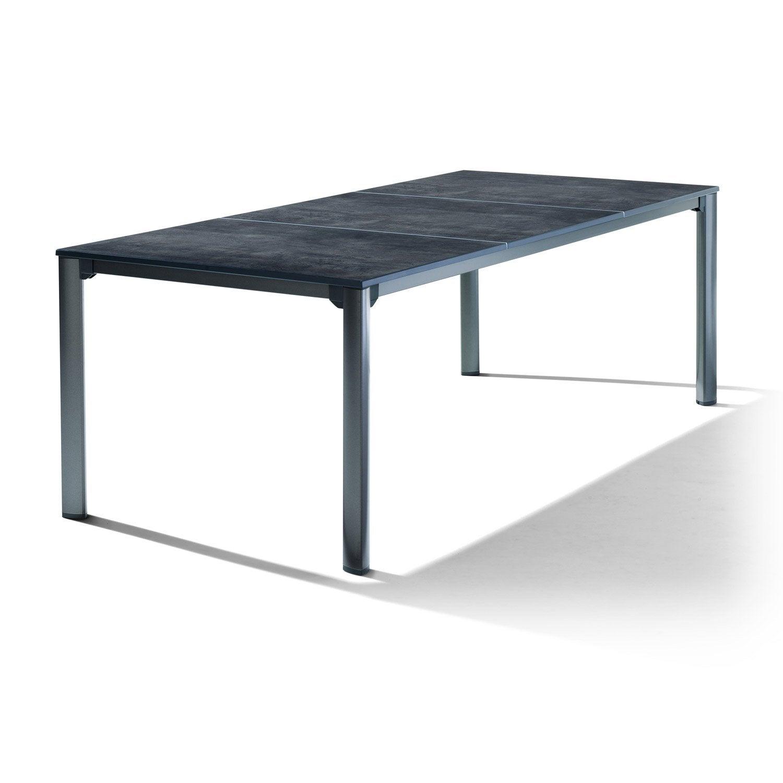 table de jardin sieger puroplan rectangulaire gris 8 personnes leroy merlin. Black Bedroom Furniture Sets. Home Design Ideas