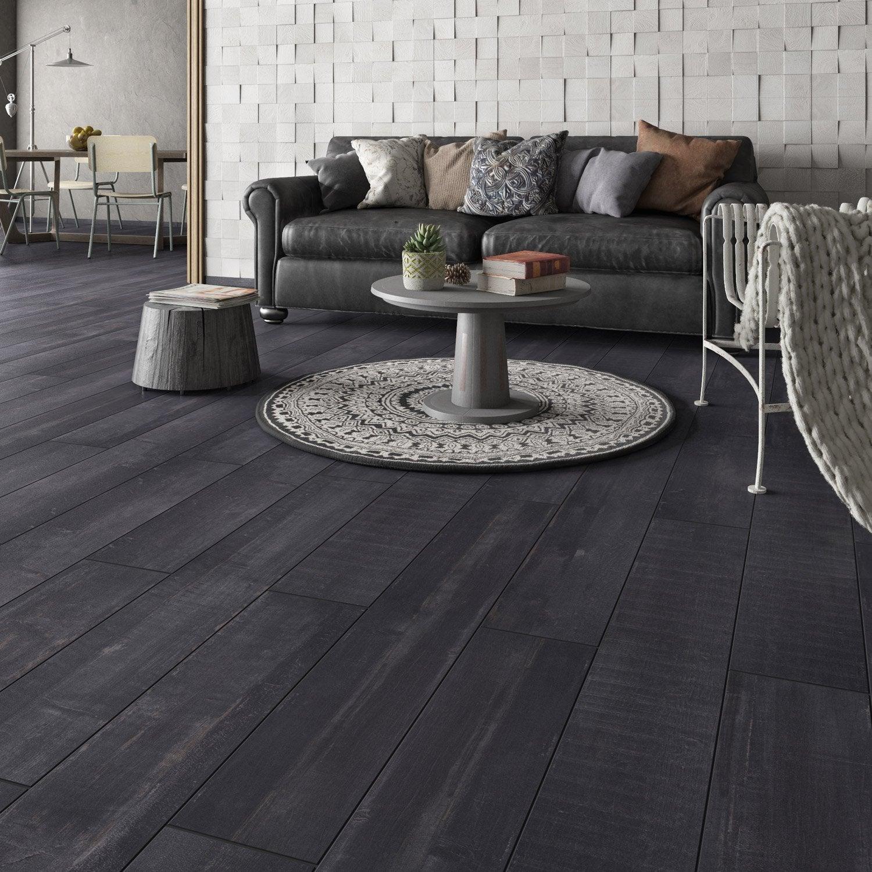 Carrelage sol et mur noir effet bois Pintura l.20 x L.120 cm