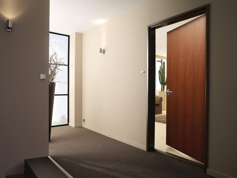 Porte Appartement Acier Placage Bois H205 X L95 Cm Acajou Tunnel Pouss Droit