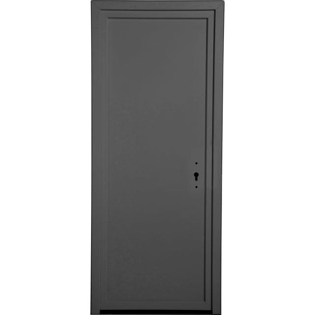 Porte De Service Pvc Gris Pleine Poussant Droit H 200 X L 80 Cm