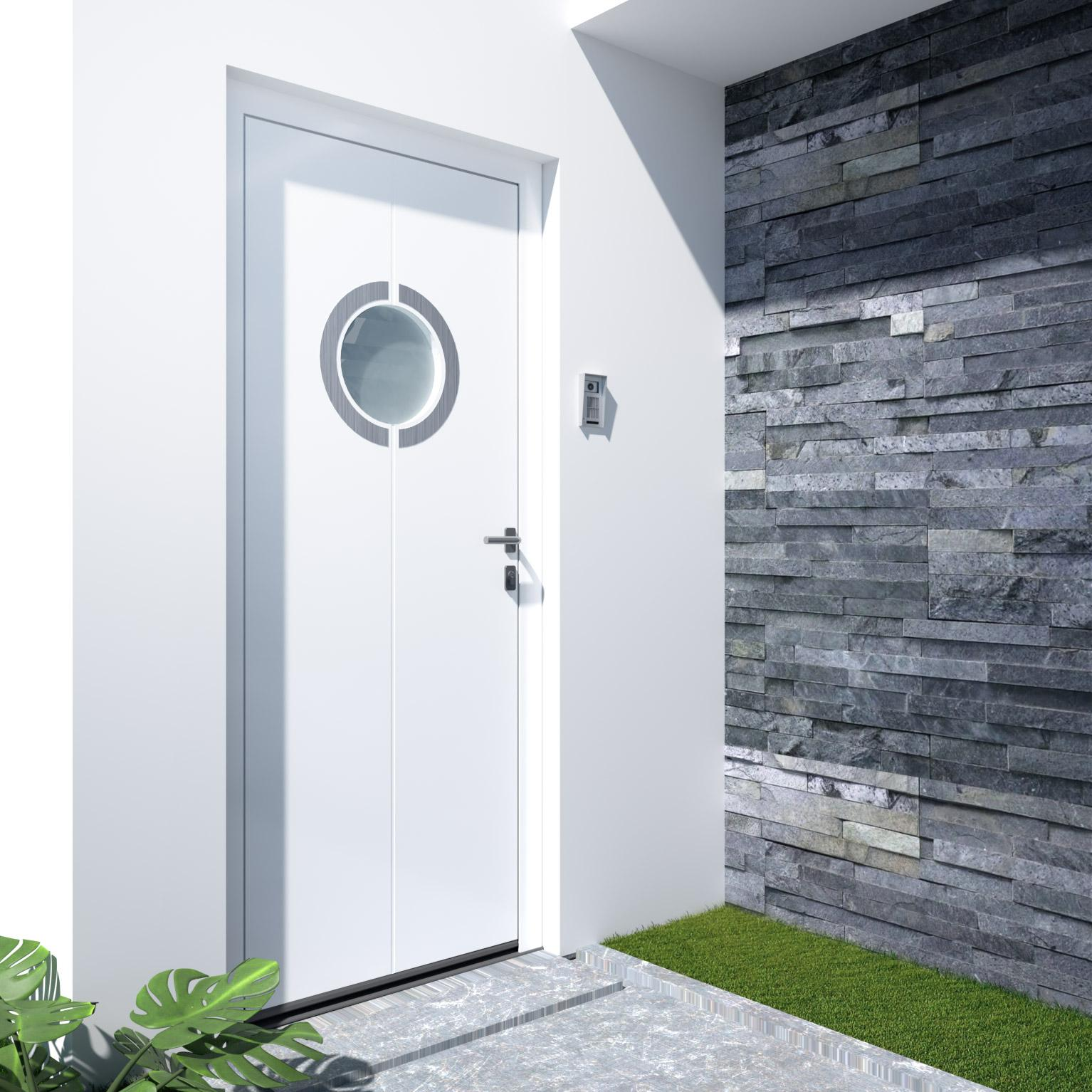 porte d'entrée aluminium vitrée ian h215 x l90 cm blanc