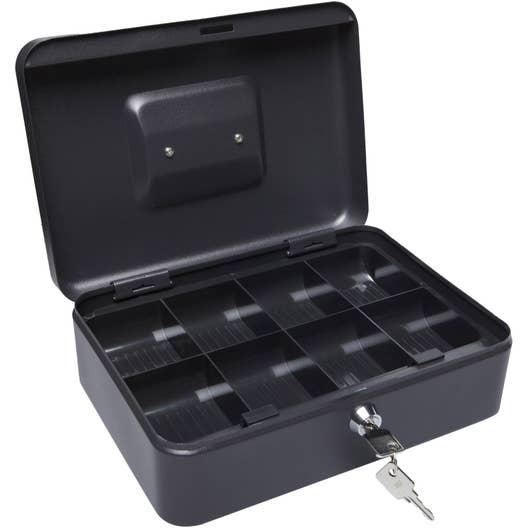 boite monnaie 6 cases a cle 25x18x9 noir leroy merlin. Black Bedroom Furniture Sets. Home Design Ideas