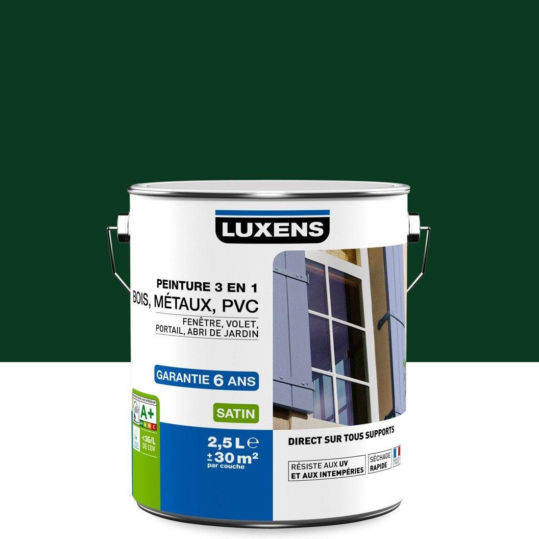 Peinture Multimatériau Extérieur 3 En 1 LUXENS, Vert Sapin, 2.5 L