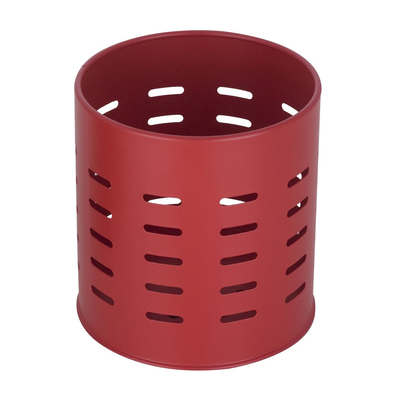 Pot range-couverts inox brossé rouge-rouge n°3