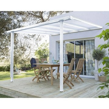 Couverture de terrasse adossée Tradition, aluminium blanche, 7.77 m²