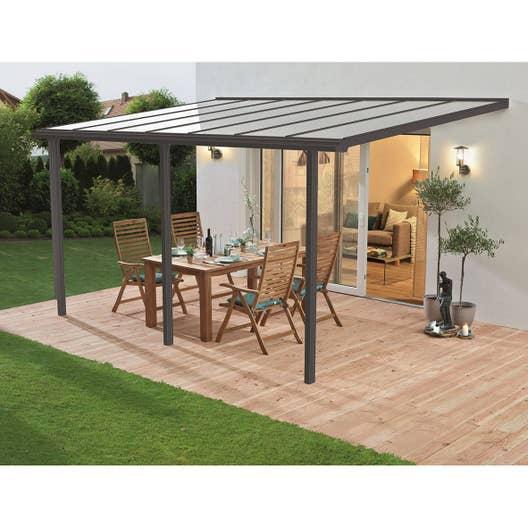 Couverture de terrasse adossée Tradition, aluminium gris, 13 m² ...