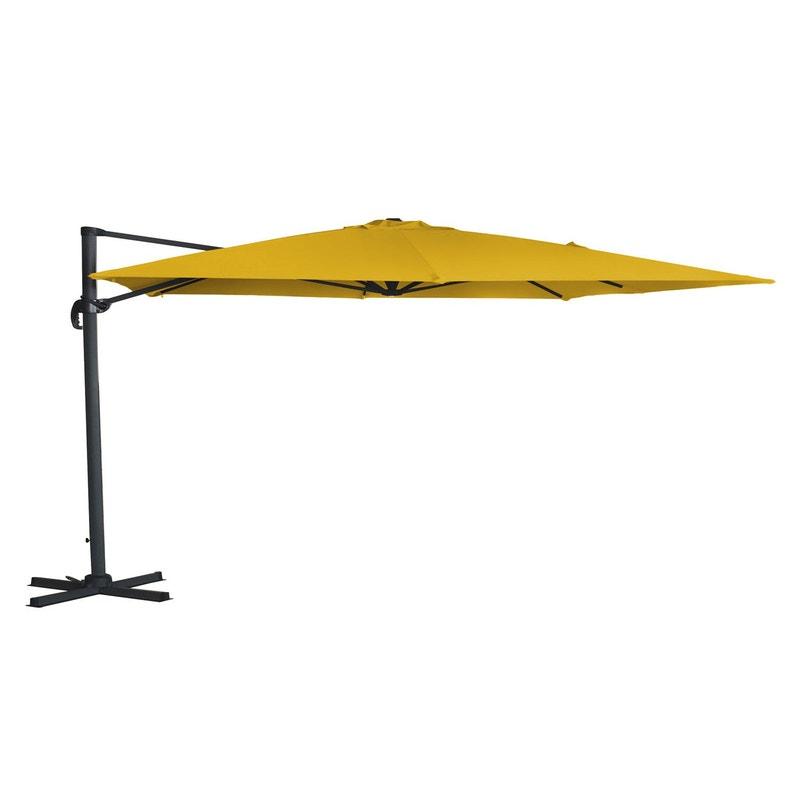 Parasol déporté Hera jaune rectangulaire, L.300 x l.400 cm | Leroy