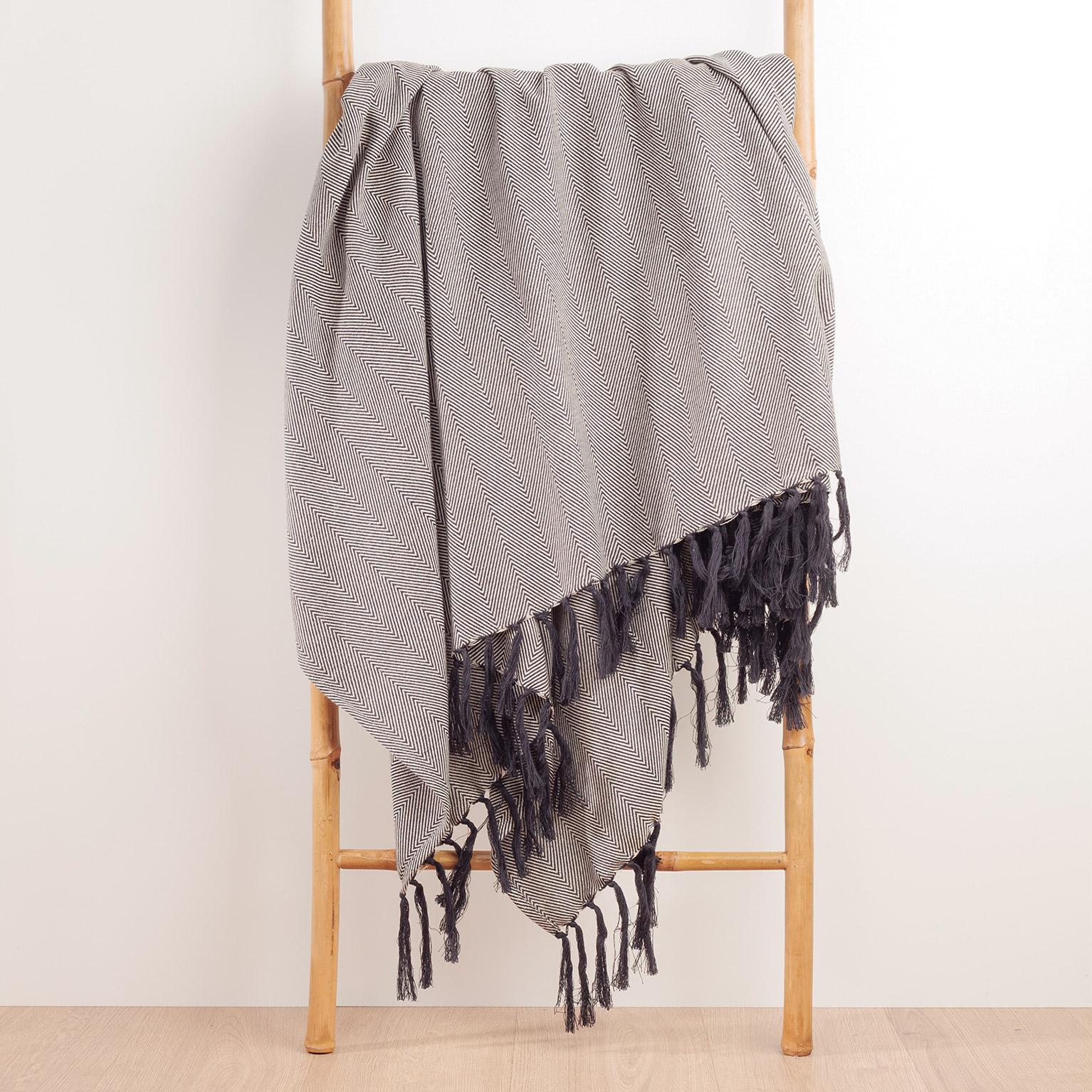 Plaid Ziggy fringes, blanc/noir l.130 x L.170 cm