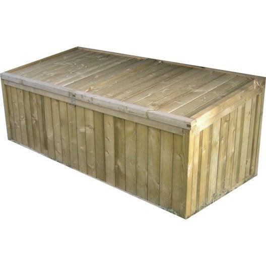 Coffre de jardin bois naturelle x x cm for Grand coffre de rangement exterieur