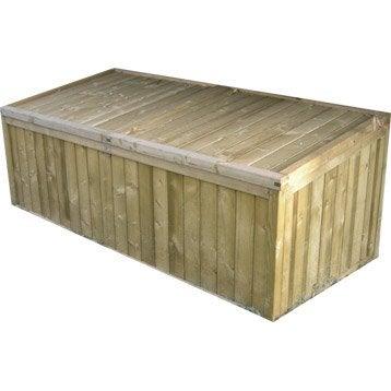 Coffre de jardin bois naturelle, l.179 x H.70 x P.82 cm
