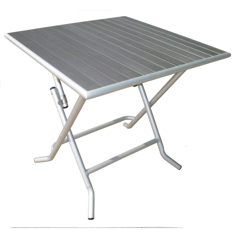 Table de jardin naterial boston carr e gris 4 personnes leroy merlin - Table jardin couleur rennes ...