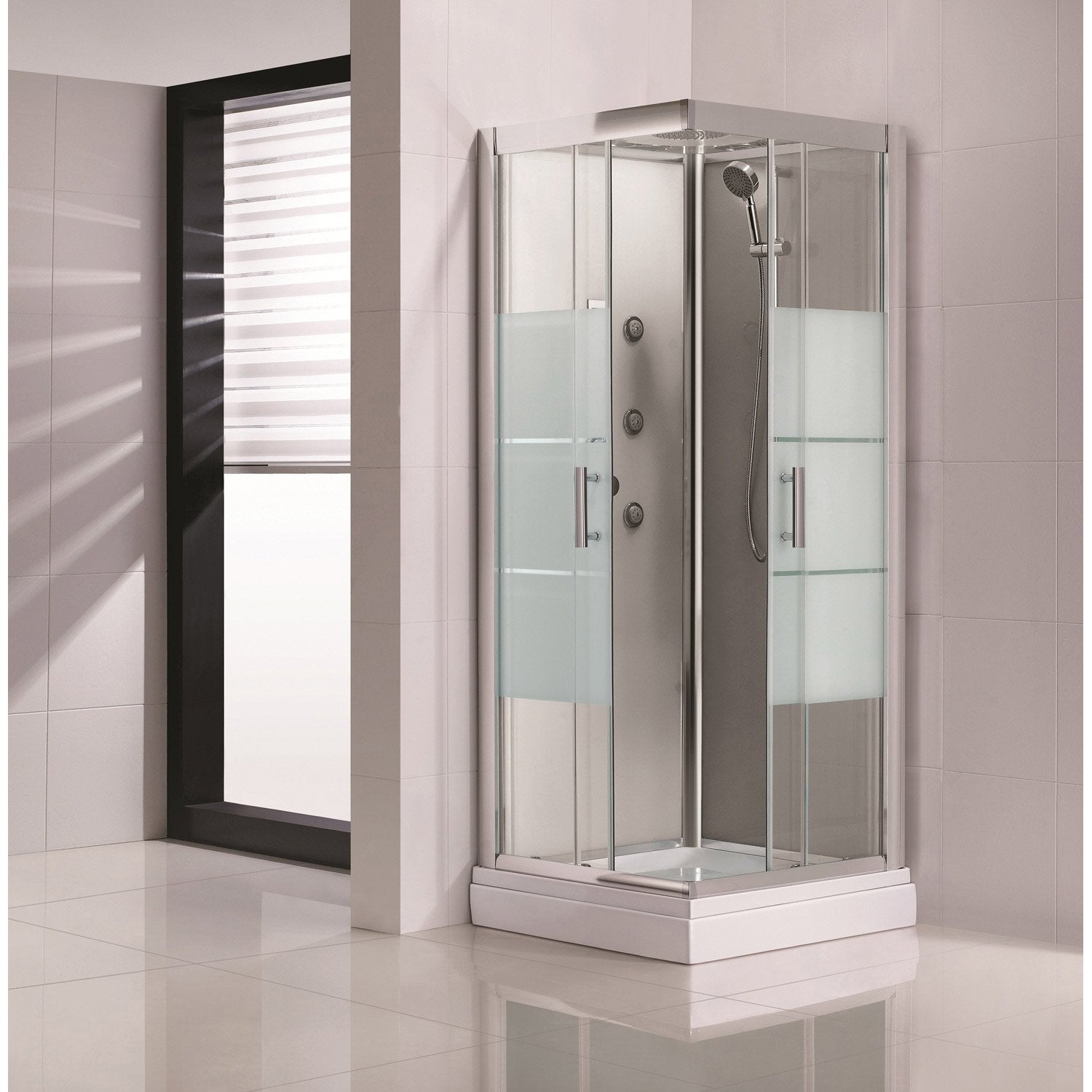cabine de douche carr 80x80 cm optima2 grise leroy merlin. Black Bedroom Furniture Sets. Home Design Ideas