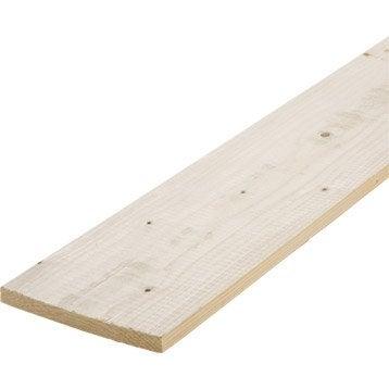 Planche sapin petits noeuds raboté, 27 x 140 mm, L.2.4 m